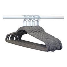 Closet Complete 50 Pack Velvet Hangers with Chrome Hooks, Heather Gray