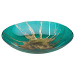 """Wrought Iron Haven-SL - Iron And Glass Celestial Decorative Plate - Iron And Glass Celestial Decorative Plate :: Update your décor with a bold accent piece like this stunning celestial decorative bowl. This incredible decorative bowl is made from glass and features a vibrant teal base with a striking star burst design in metallic gold. . Product Size:15.75"""" x 15.75"""" x 2.75"""" high. Product Material:Iron and Glass. Package Contains:1 Ea. Product Weight:4 lb"""