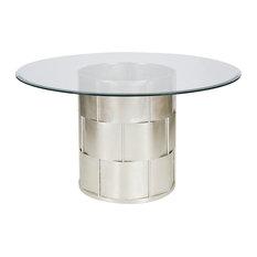 "Amanda Silver Leaf Basketweave Dining Table W. 48"" Dia Glass Top, Amanda S48"