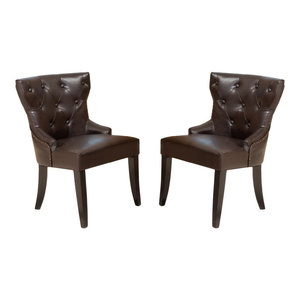 GDF Studio Zatgan Brown Leather Tufted Dining Chairs, Set of 2