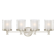 Decker 4 Light - Vanity Fixture With Clear and Frosted Glass