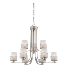 Fusion 9 Light - Chandelier With Frosted Glass
