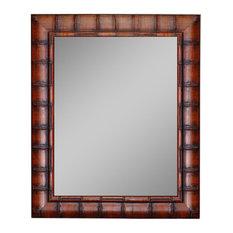 "Dynasty Bamboo Dark Brown Wall Mirror, 26""x36"""