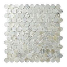 """11.25""""x11.63"""" Seashell Penny Mosaic Wall Tile, White"""