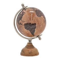 "Globe With Wood Base, Brown, 11"""