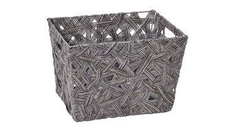 """Crazy Weave Storage Tote, Small 10""""x12""""x8"""", Gray"""