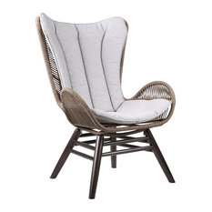 King Outdoor Lounge Chair, Dark Eucalyptus With Truffle Rope and Gray Cushion