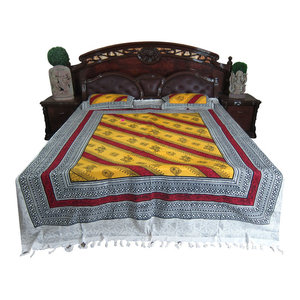 Mogul Interior - Yellow Red Bed Cover 3p Bohemian Cotton Bedspreads Gift Idea - Quilts And Quilt Sets