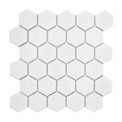 "10.5""x11"" Victorian Hex Mosaic Floor/Wall Tiles, Set of 10, Matte White"
