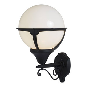 Orb Lantern Outdoor Single Wall Light, Black and Round Opal Shade