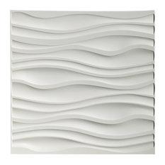 "19.7"" x 19.7"" Art3d PVC Wave Board Textured 3D Wall Panels, Set of 12, White"