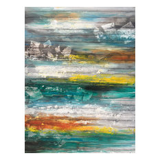 """Sea and Sunset"" Abstract Hand Painted Oil Canvas Artwork; Modern Art; Fine Art"