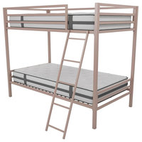 Maxwell Twin-Over-Twin Metal Bunk Bed With Ladder, Guardrails, Millennial Pink