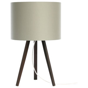 Short Luca Stand Table Lamp, Smoked Oak and Grey Lampshade