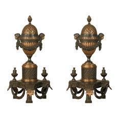 """Bronze Fireplace 29"""" Ornate  Andirons"""