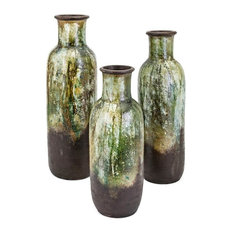 Imax Clay Set Of 3 Vase With Green Finish 20155-3