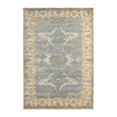 Exquisite Rugs, Antique Weave Oushak, Blue and Ivory, 9'x12'