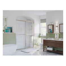 """Paragon Framed Sliding Shower Door, Towel Bar, Obscure, Brushed Nickel, 52""""x66"""""""