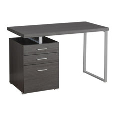 Monarch 3 Drawer Writing Desk in Brown and Black, Gray/ Silver