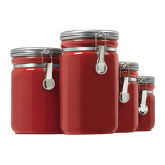 Anchor Hocking Kitchen Storage Canister Red 4 Piece Set Kitchen Canisters