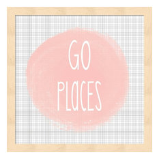 "Go Places, Blush Pink by Alli Rogosich Framed Art, 13.25""x13.25"""