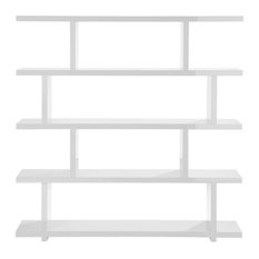 63-inch W Bookshelf Four Tier Large Open Shelves Contemporary High Gloss Lacquer