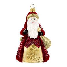 Crystal Cranberry Santa Ornament