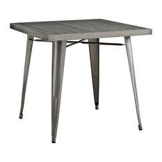 Alacrity Square Steel Dining Table, Gunmetal