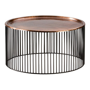 Large Iron Cage Coffee Table, Copper