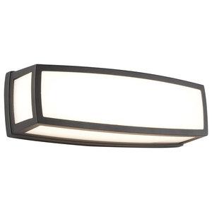 Washington Outdoor LED Rectangle Wall Light, Dark Grey, Large