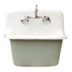 Deep Utility Sink Antique Style Cast Iron Porcelain Farm Sink Set, Green Blue