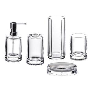 Clear Acrylic Serene 5-Piece Bathroom Accessory Collection