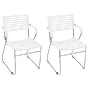 VidaXL Stackable Arm Chairs, White, Set of 2