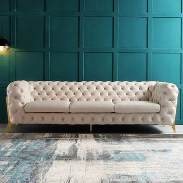"""$1,727.99 Beige Modern 91"""" Chesterfield Sofa 3-Seater Button Tufted Back Leath-A"""