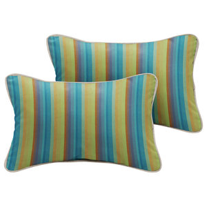 Talbot Sunbrella Outdoor Lumbar Pillow, Set of 2, Green