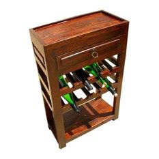 Solid Wood Liquor Bottle Storage Wine Rack Serving Tray