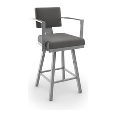 Akers Swivel Stool, Glossy Grey Metal/Light Cold Gray Polyester, Bar Height