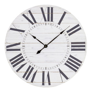 Estelle French Country Wall Clock With Shiplap Face