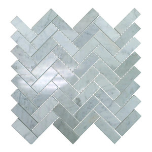 Polished Marble Herringbone Mosaic Tile, 12