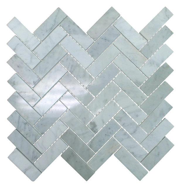 Polished Marble Herringbone Mosaic Tile 12 X13 Bianco Carrara White