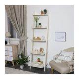 Ivory Leaning Ladder Bookcase Shelving Unit