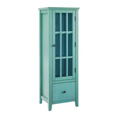 Riverbay Furniture Palin Tall Glass 3-Shelf Curio Cabinet in Antique Turquoise