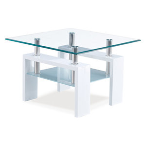 Global Furniture USA T648 Square Glass End Table with White Legs