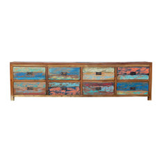 Dresser/Chest With 8 Drawers Made From Recycled Teak Wood Boats