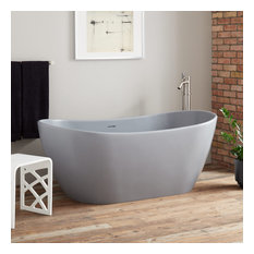 """Signature Hardware 944333-64 Winifred 64"""" Free Standing Resin Soaking Tub with"""