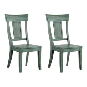 Arbor Hill Panel Back Wood Dining Chair, Set of 2, Antique Sage Green
