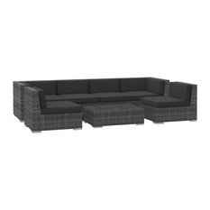 Urban Furnishing - Oahu 7-Piece Outdoor Furniture Set, Charcoal - Outdoor Lounge Sets