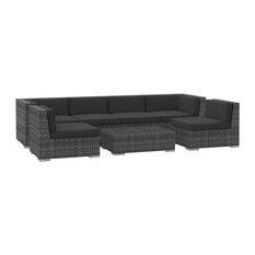 Oahu Outdoor Patio Furniture Sofa Sectional, 7-Piece Set, Charcoal