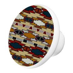 Aztec Print Ceramic Cabinet Drawer Knob