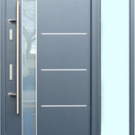 "Ville Doors - ""Lisbon"" Stainless Steel Modern Entry Door with 12"" Sidelite, Right Hand - Modern style stainless steel exterior door with glass. No maintenance! The door is finished with polymer coating specifically designed for outdoor use. It protects from prolonged sun exposure and possible rust development due to moisture. The door comes pre-hung. 12"" frosted glass sidelite comes as a separate unit and must be assembled on the site. It can be positioned on either side - left or right."